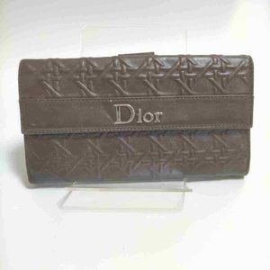 Dior Quilted Cannage Long Bifold Wallet Brown